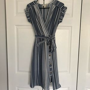 Monteau Blue and White is a striped Dress